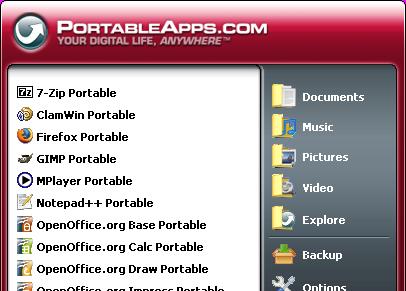 Menu de PortableApps
