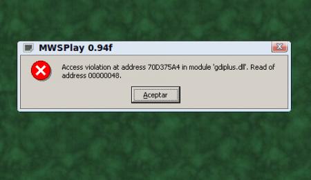 MWSPlay error de gdiplus.dll